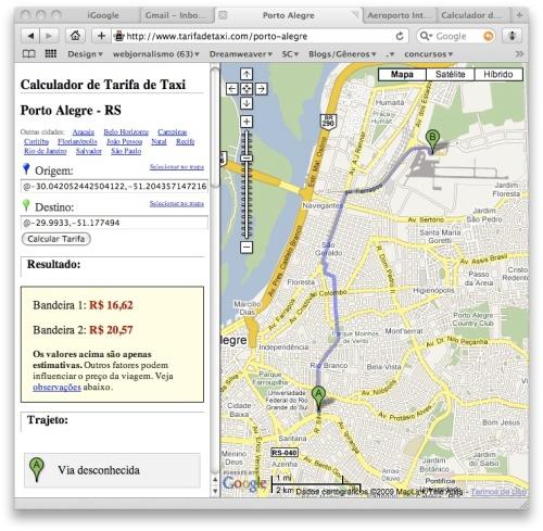 """Neste trajeto, o ponto de partida foi levemente modificado ao redor do endereço da Fabico/UFRGS através da opção """"Selecionar no mapa""""."""