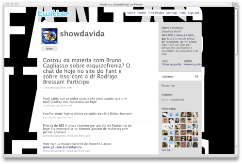 Conta @showdavida antes da reportagem na TV