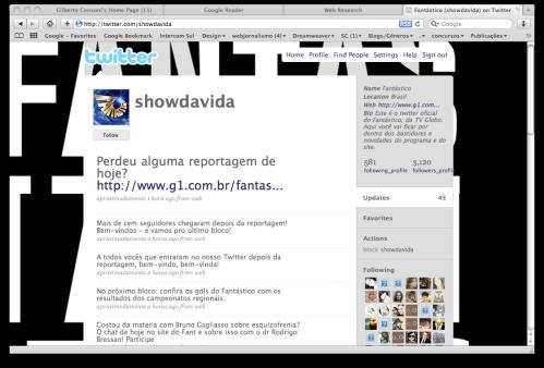 Conta @showdavida 2h após a reportagem na TV